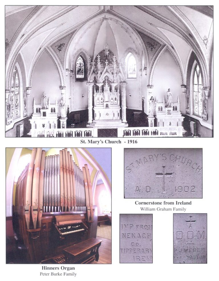Image of St Mary Church, Hinners Organ and Cornerstone from Ireland